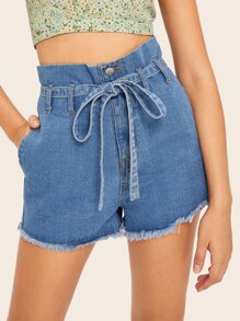 Paperbag Waist Frayed Edge Belted Denim Shorts