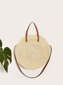 Round Braided Satchel Bag