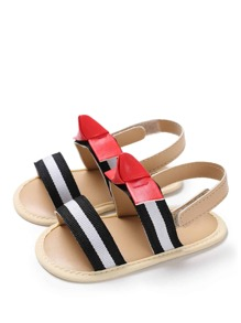 Baby Striped Pattern Slingback Sandals