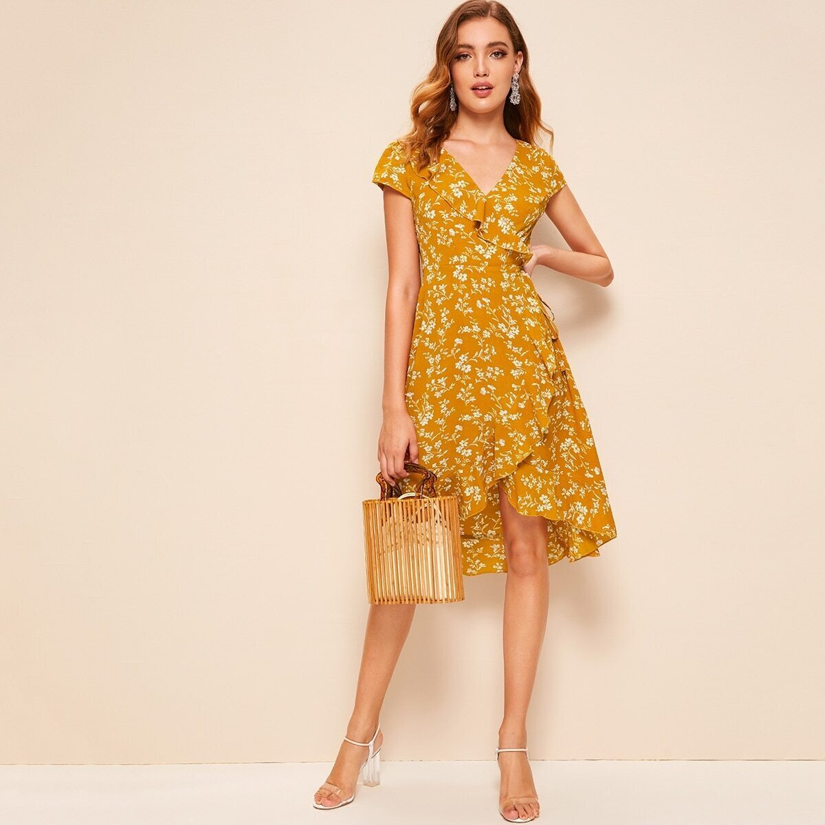 60s Surplice Asymmetrical Ruffle Trim Floral Dress