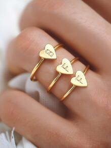 Letter Engraved Heart Decor Ring 3pcs