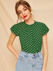 Butterfly Sleeve Polka Dot Frill Blouse
