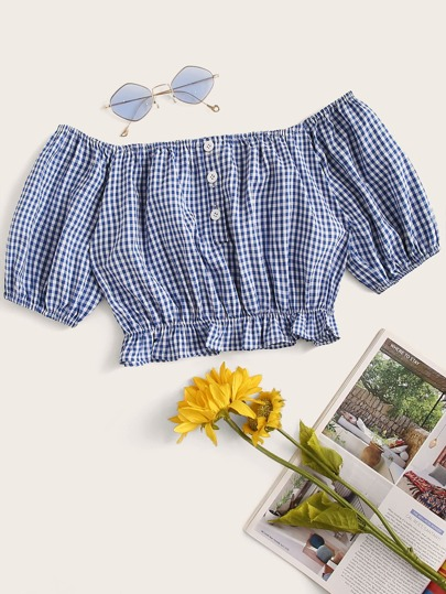 Gingham Button Front Ruffle Hem Off Shoulder Blouse