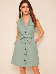 Butter Front Dual Pocket Notched Belted Dress