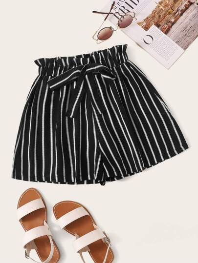 High Waist Bow Decor Striped Paperbag Shorts