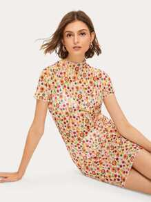 Ditsy Floral Stand Collar Sheer Dress