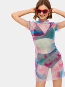 Tie Dye Stand Collar Sheer Dress Without Bra