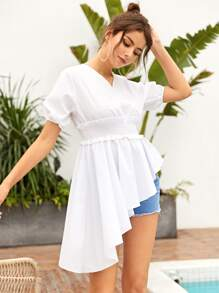 Surplice Front Shirred Waist Asymmetrical Hem Blouse