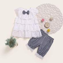 Toddler Girls Tiered Layered Schiffy Blouse With Gingham Shorts