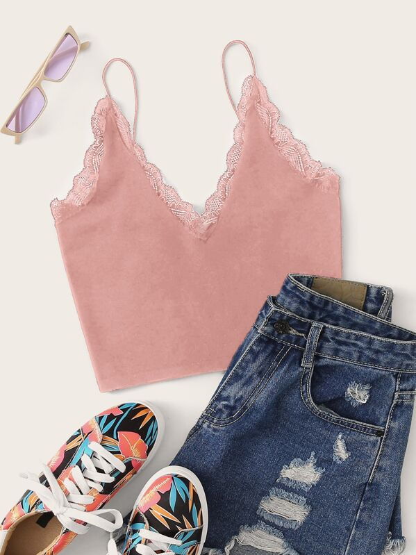91221bb1dd V Neck Lace Trim Crop Cami Top   SHEIN