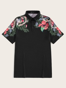 Men Tropical Print Polo Shirt