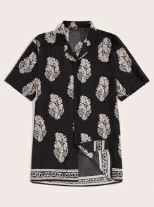 Men Revere Collar Leaf Print Shirt
