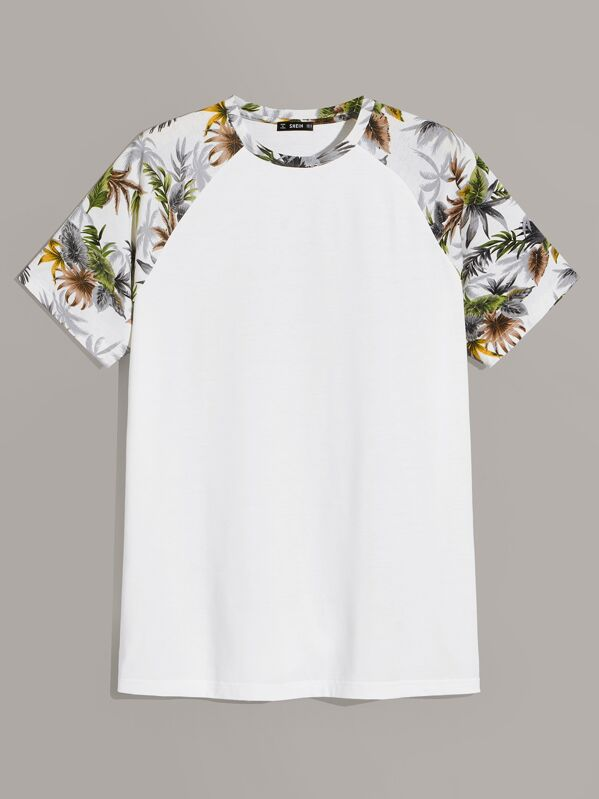 c064a5ad Men Tropical Print Raglan Sleeve Tee | SHEIN UK