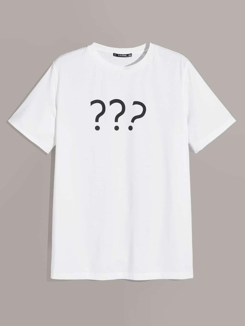 Signo De Camiseta Con Interrogación Hombres Estampado txodChQBrs
