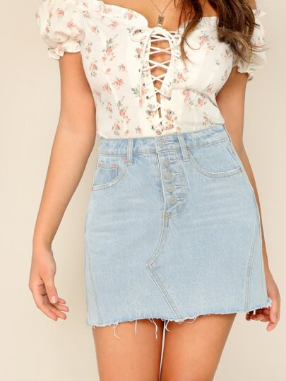Button Fly Raw Hem Denim Skirt