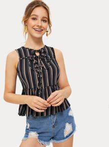 Striped Tie Front Pep Hem Blouse