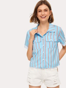 Striped Flap Pocket Front Blouse
