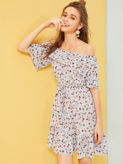 7985cdfbede Bardot Ditsy Floral Ruffle Hem Dress