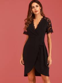 Contrast Lace Tie Side Dress With Wrap Skirt