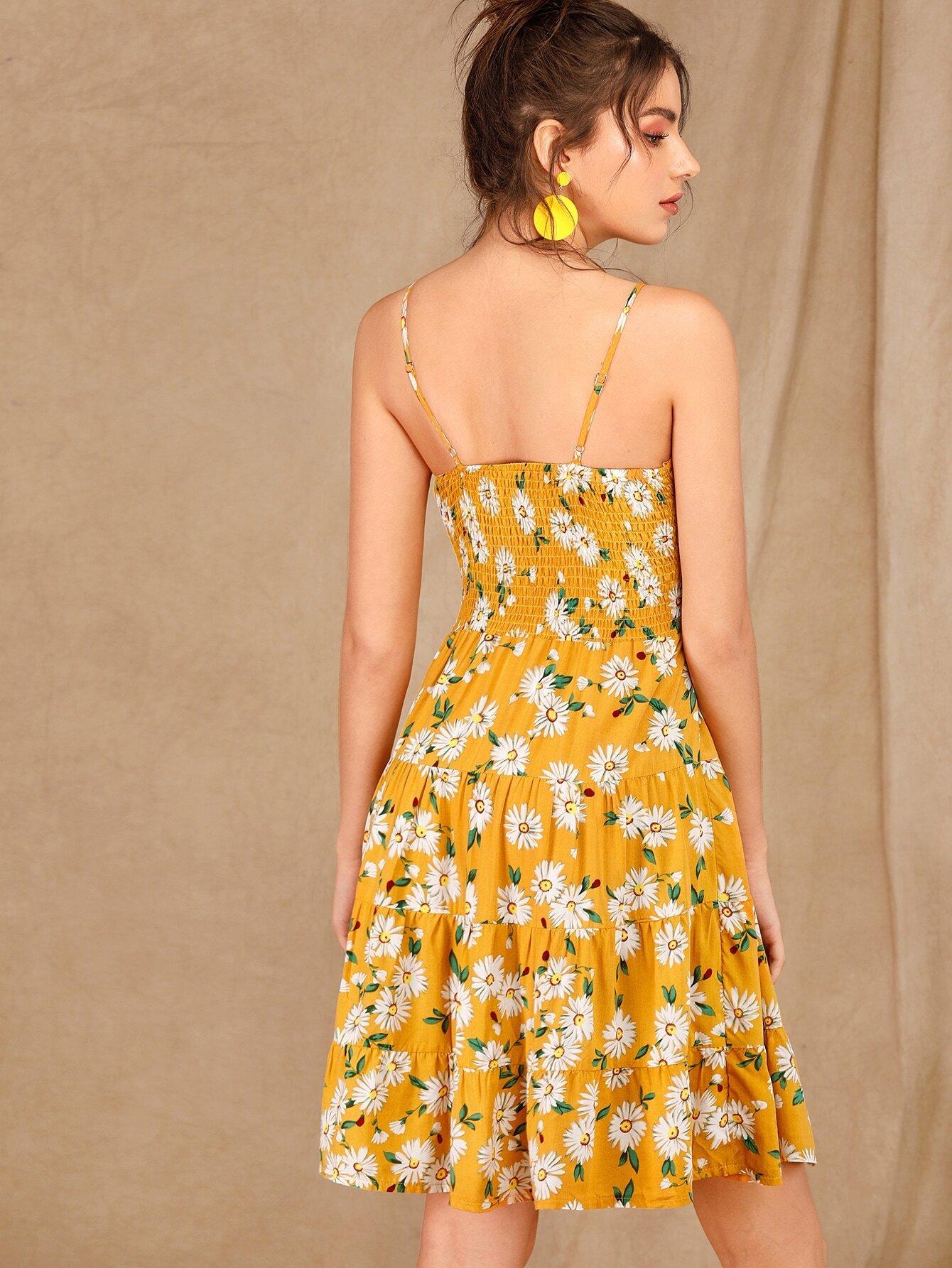 Kleid mit Gänseblümchen Blumen Muster und Band vorn | SHEIN