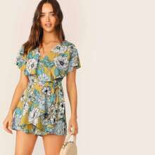 Floral Print Ruffle Foldover Cutout Back Romper