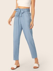 Paperbag Waist Self Belted Pants