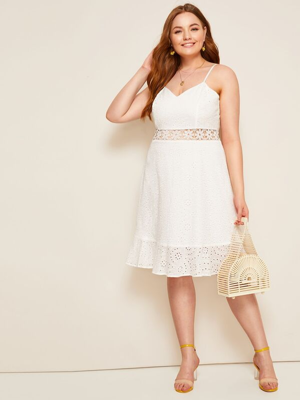 Plus Guipure Lace Eyelet Embroidered Cami Dress