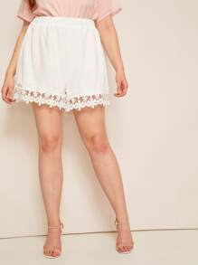 Plus Guipure Lace Elastic Waist Shorts