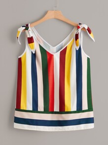 Plus Knot Rainbow Striped Cami Top