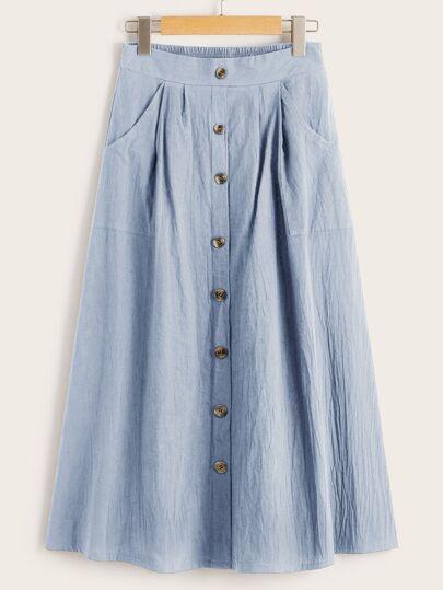 3d8150d866c7 Trim Button Front Dual Pocket Skirt