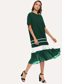 Mesh Contrast Ruffle Hem Color Block Dress