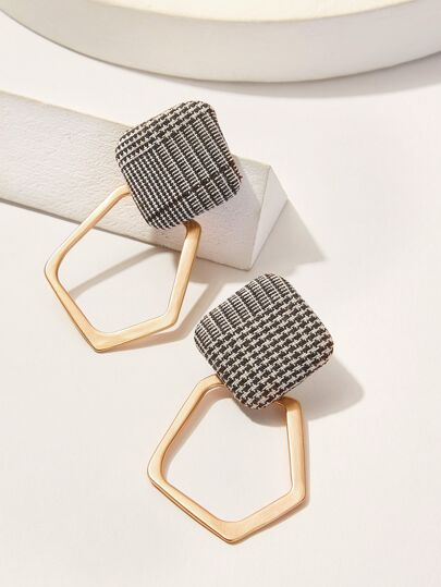 Open Geometric Woven Drop Earrings 1pair