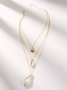 Shell Pendant Layered Chain Necklace 1pc