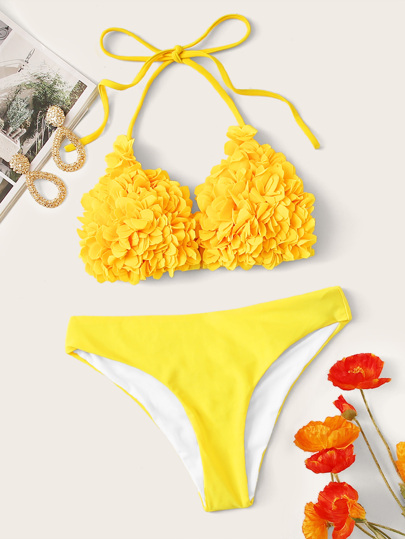 Flower Applique Triangle Bikini Set
