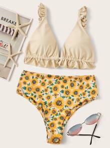 Frill Strap Top With Floral High Waist Bikini