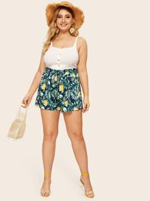 Plus Pineapple & Leaf Print Shorts
