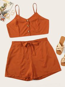 Plus Button Front Cami Top & Belted Shorts