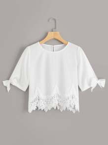 Guipure Lace Panel Knot Cuff Blouse
