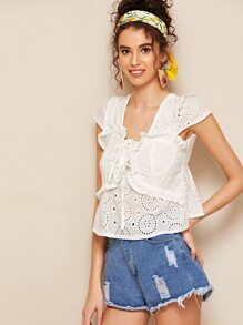 Eyelet Embroidery Lace-up Shirred Blouse