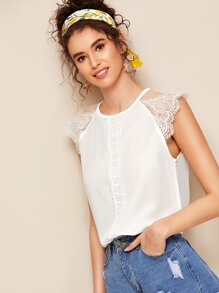 Lace Panel Solid Blouse