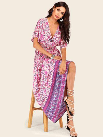 b9927502c Vestido de cintura fruncido floral de margarita tribal