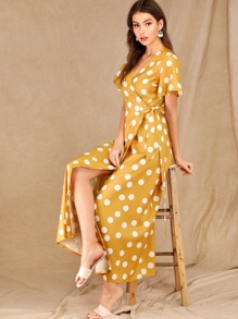 Polka Dot Knot Wrap Dress