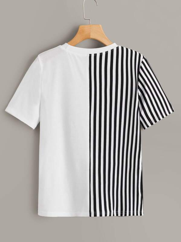 59a4074b29d5 Contrast Lip Sequin Striped Panel Tee | SHEIN