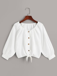 Solid Button Front Knot Hem Blouse