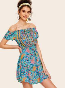 Tribal Ditsy Floral Elastic Waist Bardot Dress