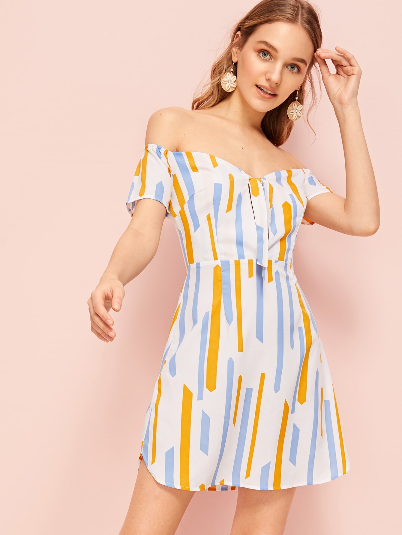 Tie Front Off The Shoulder Dress by Romwe