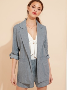 Striped Tab Sleeve Smart Blazer