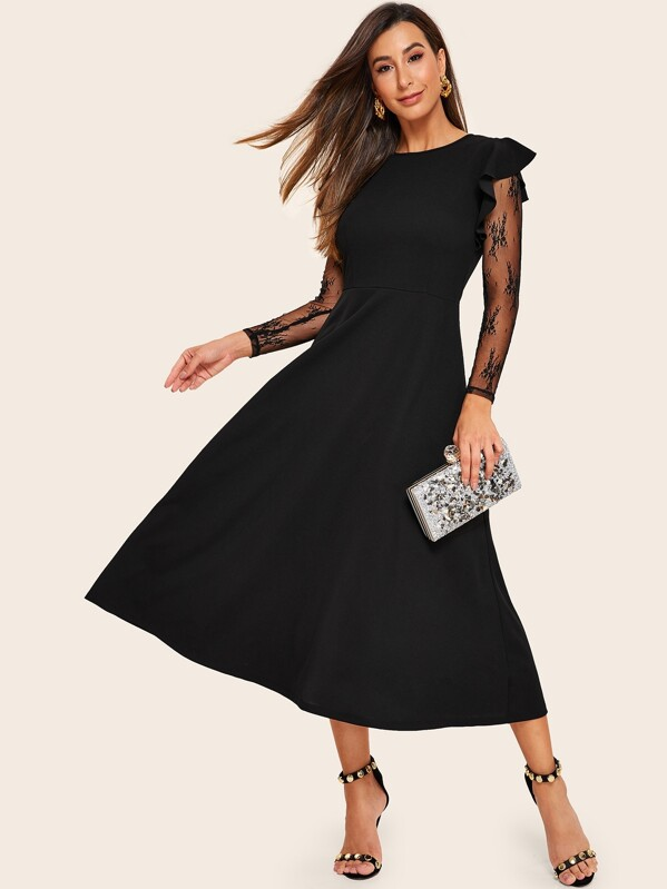 32621be86 Ruffle Trim Sheer Lace Sleeve Fit & Flare Dress | SHEIN IN