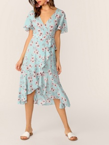 Floral Print Flutter Sleeve Wrap Dress