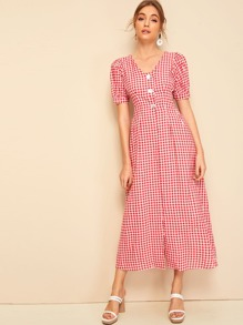Button Half Placket Puff Sleeve Gingham Dress